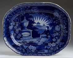 """Northeast Auctions - THE COLLECTION OF CHESTER CREUTZBURG AND DAVID MARTIN - PART ONE. 3/5/16.  Lot 101: LAFAYETTE AT WASHINGTON'S TOMB,' STAFFORDSHIRE DARK BLUE TRANSFER-PRINTED PLATTER, THOMAS MAYER, STOKE, 1826-29.  Estimated Price: $1,400 - $1,600. Realized: $1,680 (1,400).  Description: Rare printed importer's mark """"HARRIS & CHAUNCEY, 70 WALL ST., NEW YORK"""" within a bellflower wreath, impressed numeral """"14."""" Length 14 1/2 inches. Restored chips or cracks to the rim and one corner on…"""