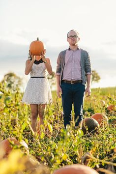 Doesn't get cuter than this folks | #Pumpkin Patch Engagement from A Brit and A Blonde  Read more - http://www.stylemepretty.com/canada-weddings/2013/11/01/pumpkin-patch-engagement-from-a-brit-and-a-blonde/