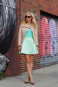 "American Apparel Skirt, J Crew T, Zara Leather, Lauren Elan ""Olivia"" Necklace, Albeit Initial Necklace, Loeffler Randall Shoes."