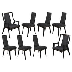 Set of Eight Dining Chairs by Harvey Probber | From a unique collection of antique and modern dining room chairs at https://www.1stdibs.com/furniture/seating/dining-room-chairs/