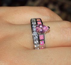pink fire opal Cz Topaz ring gemstone silver jewelry Sz 8 wedding design D3