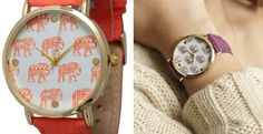 Both of these styles offered are elephant themed prints One of the two styles is a tribal elephant print, and the other stylewatch super is super cute with its colorful elephant multi print face! This watch features nice gold hardware, a comfortable genuine leather band, and an easily adjustable buckle closure. These cute watches come in avarietyof colors.Tribal Elephant:RedMustardHot PinkPurpleCoralMulti Colorful Elephant Print:CoralTurquoiseWhiteBlackBlue
