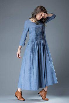 Maxi dress linen dress blue dress loose dress womens