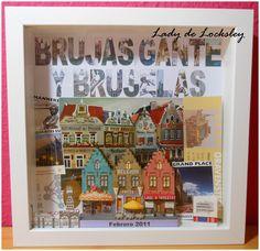 ☆DIY☆ Recuerdos de viaje. Travel memories. Brujas, Gante y Bruselas.   Hecho con el marco RIBBA 23x23cm de IKEA y los recuerdos del viaje (entradas,  postales, monedas, souvenirs ...).                                               BY ☆LADY DE LOCKSLEY☆