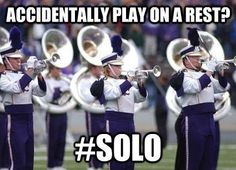 'Hi mom' moment! I totally did this my freshman year, and my Mom thought I had a solo part! The director was not amused!