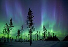 Great shot of the Aurora Borealis over Kiruna, Sweden