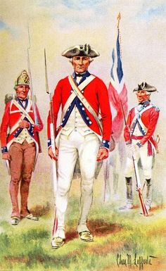 De Lancey's Brigade, 1776 - 1783. A Loyalist unit of 3 battalions raised by Oliver de Lancey from the New York State counties of New York, Winchester,Kings and Queens. Battalions distinguished by button placement. !st evenly spaced, 2nd in pairs, 3rd in groups of three. By Lt.Charles M. Lefferts.