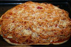 It's a Spaghetti Pizza Pie with Garlic Bread Crust