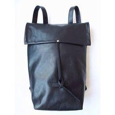 Black leather backpack by Nastya Klerovski