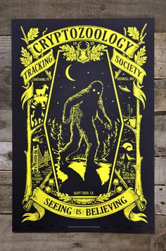 """Cryptozoology - Glow in the Dark POSTER 12"""" x 18"""". $12.00, via Etsy."""