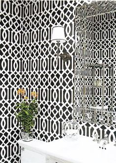 Kelly Wearstler Imperial Trellis wallpaper.  I need this in my bathroom for shizzle.