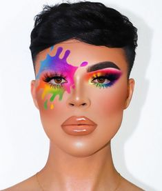 When he accidentally *splashes* on your Face 🌈😝 ————————————— Splash Inspo: - live in color palette (… Eye Makeup Art, Colorful Eye Makeup, Glam Makeup, Eyeshadow Makeup, Cool Makeup Looks, Crazy Makeup, Pretty Makeup, Make Up Designs, Creative Makeup Looks