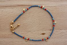 Star Anklet, Denim Blue Seed Bead and Gold Tiny Star Anklet
