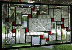 Clears and Red Stained Glass Window Panel   hkephart - Glass on ArtFire