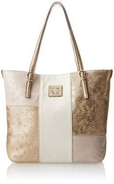 Anne Klein Perfect Tote Large Shoulder Bag Beige Multi One Size Por Purses