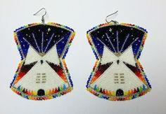 Star-e nights tipi earrings, Native American beadwork omg these are beautiful! Native Beading Patterns, Beadwork Designs, Bead Loom Patterns, Indian Beadwork, Native Beadwork, Native American Beadwork, Beaded Earrings Native, Beaded Earrings Patterns, Bead Earrings