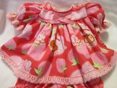 """ROSE PINK FLOWER PRINT RIBBON DRESS W// LACE BUTTONS for 16+18/""""  Cabbage Patch"""