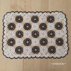 Tatting lace square doily (black and white) image 1