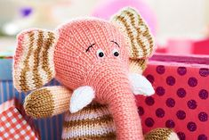 """Percy pattern the elephant ... Knitting pattern designed by Amanda Berry for """"Let's Get Crafting Knitting and Crochet"""" magazine, issue 50"""