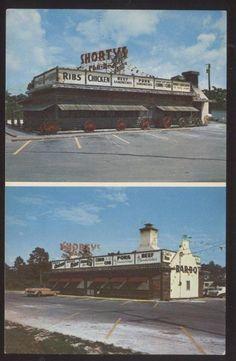 Vintage postcard: Shorty's Bar-B-Q on US-1 & in Homestead, FL (1950's)