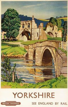Vintage-Yorkshire-Kirkham-Abbey-Railway-Travel-Poster Shared by Motorcycle Fairings - Motocc Train Posters, Railway Posters, Poster Vintage, Vintage Travel Posters, British Travel, A4 Poster, Illustrations Posters, Places To Visit, Landscape