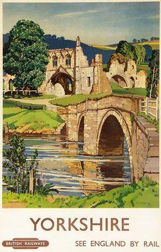 Vintage-Yorkshire-Kirkham-Abbey-Railway-Travel-Poster Shared by Motorcycle Fairings - Motocc Train Posters, Railway Posters, Poster Vintage, Vintage Travel Posters, British Travel, A4 Poster, Places To Visit, Landscape, Retro