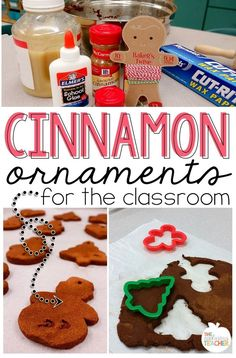 Cinnamon Ornaments for the classroom- love this idea of making those yummy smelling cinnamon ornaments with your class. Classroom friendly recipe and does not require baking. Can decorate with puffy paint! Perfect craft for the holidays. Holiday Crafts For Kids, Preschool Christmas, Christmas Themes, Christmas Fun, Holiday Fun, Christmas Ornaments, Xmas, Gingerbread Ornaments, Gingerbread Man