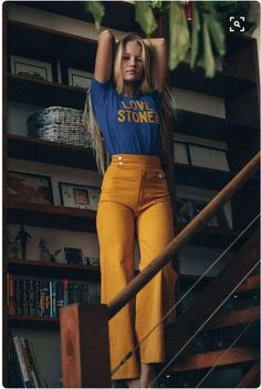 $15 Love Stoner Bright Blue T-Shirt And Yellow Logo Detail With 90's Style High Waisted Mustard Coloured Pants Old School Style Tumblr