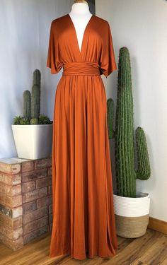 Burnt Orange Bridesmaid Dresses, Infinity Dress Bridesmaid, Burnt Orange Dress, Maid Of Honour Dresses, Maid Of Honor, Multi Wrap Dress, Wrap Over Dress, Burn Dressing, Convertible Dress