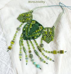 Green statement necklace micro-macrame unique macrame long