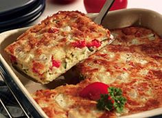 Easy Garden Bake --  uses Bisquick Heart Smart mix, egg beaters and skim milk to cut the fat/calories.