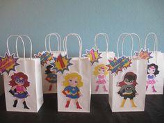 Girl Superhero Favor Bags(10)Girl Superhero Goody bags,Superhero Birthday,Girl superhero party,Girl Superhero Birthday,Superhero Gift Bags by BehindTheTheme on Etsy https://www.etsy.com/listing/259393767/girl-superhero-favor-bags10girl