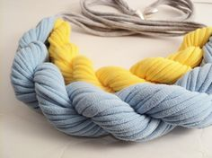Love this blue & yellow fabric necklace