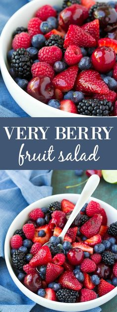 Everyone loves this easy and healthy recipe for Very Berry Fruit Salad with light honey lime dressing! A yummy summer side dish! Make it for 4th of July! kristineskitchenb...