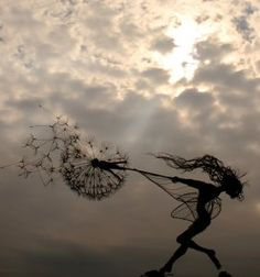 """Fantasy Wire Fairies Sculptures. I kind of like this one. Maybe with """"pucker up, make a wish, and blow!""""  @lornagene"""