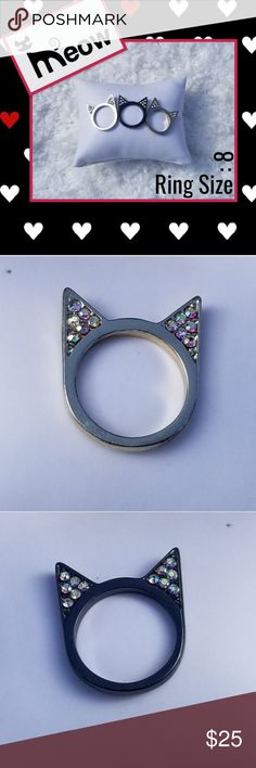 🐈 M.E.O.W. Kitty Rings 🐈 INDEPENDENTLY STYLISH 🐈  Meow 🐱 Meow - Feast your eyes on the adorable Katy Perry Kitty Ring. Colors: Black, Gold, Silver ~ All with beautiful rhinestones in the ears.  This trio set can be worn together, or separate. Add them to your favorite chain or bracelet. Or you can share them with your BFF. Katy Perry Collections Jewelry Rings Womens Jewelry Rings, Women Jewelry, Cat Ring, Katy Perry, Separate, Black Gold, Rhinestones, Bff, Ears