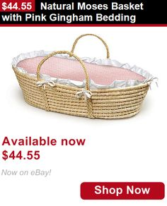 Moses Baskets: Natural Moses Basket With Pink Gingham Bedding BUY IT NOW ONLY: $44.55