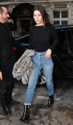 Showing out: Bella Hadid put on another impressive display when she stepped out in Paris on Monday