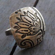 Lotus Flower Statement Ring in Fine Silver via Etsy.