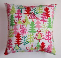 CHRISTMAS Throw Pillow Cover Yule Trees in Lime by PersnicketyHome