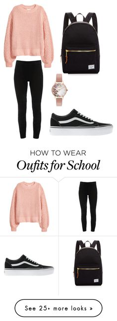 """School Outfit"" by amandajanason on Polyvore featuring Elie Tahari, Vans, Herschel Supply Co. and Olivia Burton"