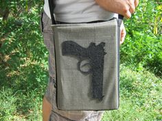 "Items similar to Handmade shoulder bag. Cotton canvas messenger bag for men ""Book Gun"" on Etsy Revolution, Gun, Shoulder Bag, Trending Outfits, Unique Jewelry, Handmade Gifts, Books, Etsy, Vintage"