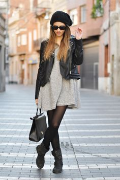 Love the dress with the leggings,  but the leather jacket can go!