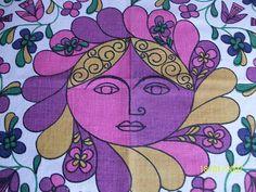 60s /70s Vtg Pschedellic Tablecloth Fringed. Retro Flower Power. | eBay