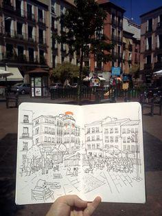 sketchbook in Malasaña, Madrid, Spain
