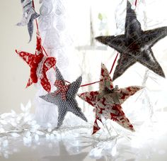 Star Garland - These shabby chic stars are easy make and fun to decorate -string together as many as you like! Project available on my Christmas CD from www.debbieshore.tv