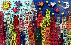 James Rizzi was born in 1950 in Brooklyn. He studied art in Florida (Gainesville), where he started experimenting with printing, painting and sculpting. Rizzi's work often shows his birthplace New York. His paintings look sometimes childishly naive, with the bright colours and brilliant gaiety. In the art press Rizzi is often described as