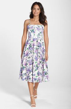 Maggy London floral print fit & flare midi dress at Nordstrom.