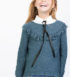 Fringed knit sweater