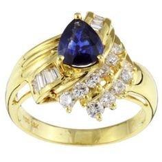 18k Gold Pear Sapphire and 1/2ct TDW Diamond Ring (G-H, I1)